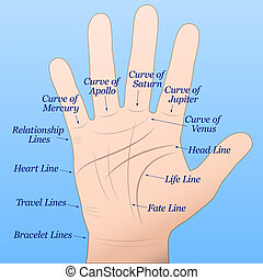 Palmistry Right Hand Blue - Palmistry - Right hand with...