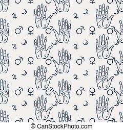 Palmistry seamless pattern