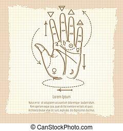 Palmistry sign on vintage background - Palmistry sign vector...