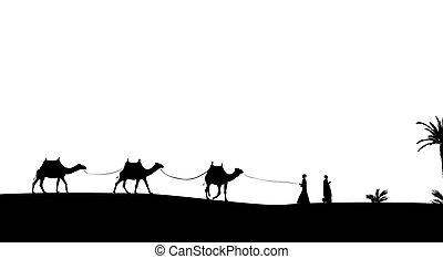 palms., περίγραμμα , δίκαιη τιμωρία , άνθρωποι , καραβάνι , μικροβιοφορέας , διαμέσου , καμήλες , περιπλάνηση , mit , illustration.