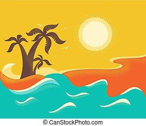 palms., トロピカル, 背景, 海洋, 島, 波, ベクトル