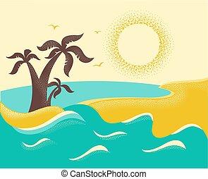palms., トロピカル, 背景, 海洋, 島, 波, ベクトル, ポスター