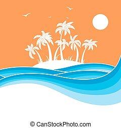 palms., トロピカル, 青い背景, 海, イラスト, 島, 波