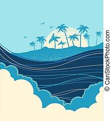 palms., トロピカル, 青, イラスト, 海洋 波, 島, ベクトル, 大きい
