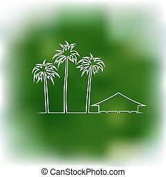 Palms and bungalow on a green backg