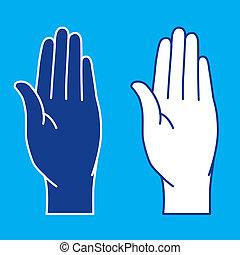 Palms. Illustration. - Illustration of palms on blue...