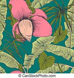 palms., illustration., modèle, seamless, exotique, vecteur, banane