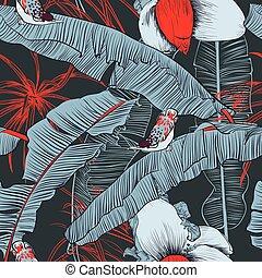 palms., illustration., modello, seamless, tropicale, vettore, banana