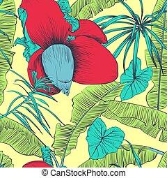 palms., illustration., padrão, seamless, tropicais, vetorial, banana
