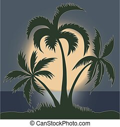 Palms in the Moonlight on the Beach - vector
