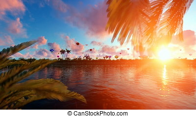 Palms island at sunset with hot air balloons flying