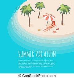 palms., isometric, wyspa, ilustracja, tropikalny, wektor