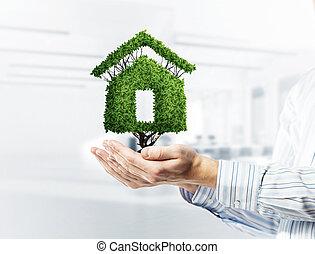 palms., jelzálog, épület, jelkép, gondolat, vagy, zöld, hím, ház
