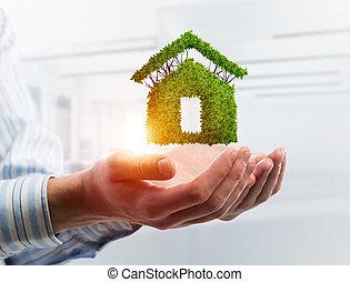 palms., jelzálog, épület, jelkép, gondolat, vagy, zöld, média, kevert, hím, ház
