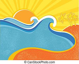 palms., nyár, poszter, ábra, csípős, vektor, tenger, lenget, nap, táj