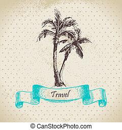 palms., ouderwetse , illustratie, hand, achtergrond, getrokken