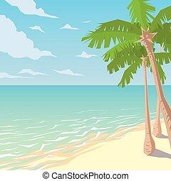 palms., paesaggio., oceano, spiaggia tropicale, sabbioso