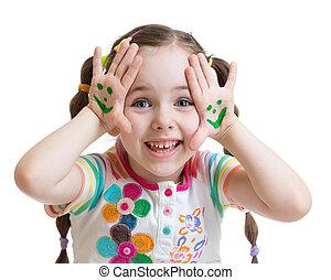 palms., pequeno, dela, pintado, smiley enfrenta, menina, feliz
