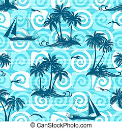 Palms, Ships and Seagulls, Seamless - Exotic Seamless...