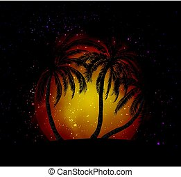 Palms silhouettes at orange sunset sk - Palms silhouettes at...