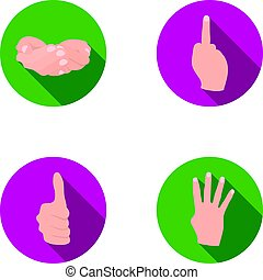 Palms together, big up, nameless. Hand gestures set collection icons in flat style vector symbol stock illustration .