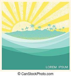 palms., tropikalny, ilustracja, wyspa, wektor, motyw morski, natura