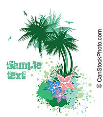 Palms with flowers. Vector