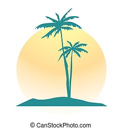 Palms with Sun and Part of Landscape. Vector Illustration.