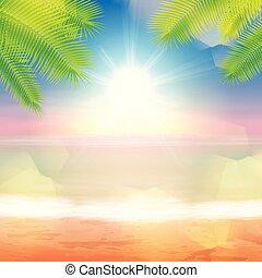 palmtree, tropikalny, liście, plaża, morze