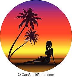 palmtrees, debajo, playa, ilustración, vector, niña