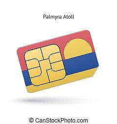 Palmyra Atoll mobile phone sim card with flag. Vector...