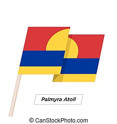 Palmyra Atoll Ribbon Waving Flag Isolated on White. Vector...