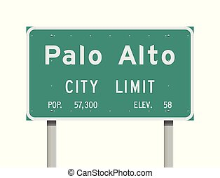 Palo Alto City Limit road sign - Vector illustration of the ...