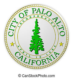 Palo Alto Seal Badge, 3d illustration on white background -...