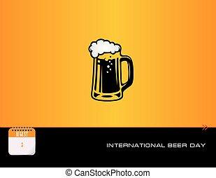 palo, birra, scheda, tazza