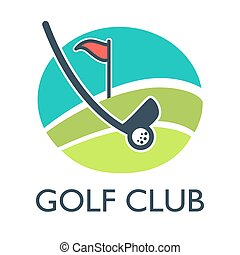 palo de golf, país, torneo, plantilla, logotipo, o, icono