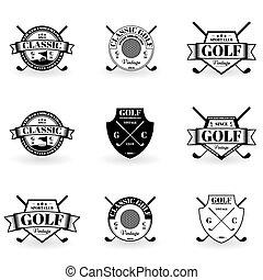 palo de golf, pegatina, etiqueta, aplicación, emblema, su