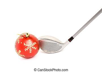 palo de golf, y, pelota de navidad