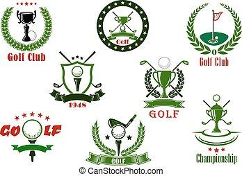 palo de golf, y, torneo, deporte, iconos