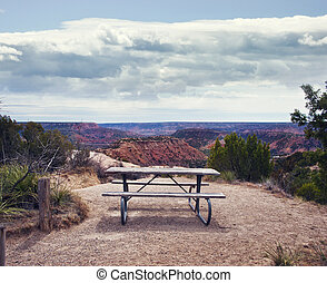 Palo Duro Canyon state park.Texas.Picnic table.