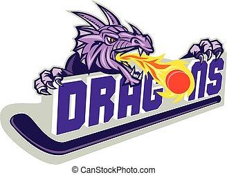 palo, fuego, disco, dragón, retro, hockey
