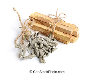 Palo santo, Holy Wood sticks with sage isolated on white...