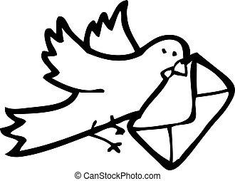 paloma mensajera, caricatura