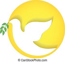 paloma, paz, vector, logotipo