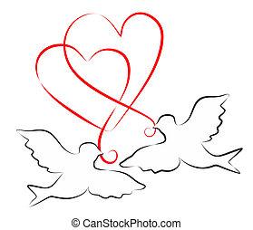 palomas, y, corazones