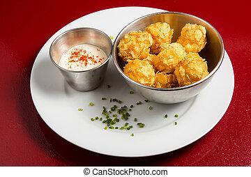 Palomitas de bacalao - Fried codfish balls with mayonnaise ...