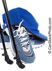 palos, deportes, ambulante, shoes, nórdico, aislado, blanco