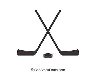 palos, disco, gris, diseño, hockey, logotipo, mínimo