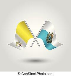 palos, símbolo, -, dos, vector, banderas, marino, vaticano, cruzado, plata, san