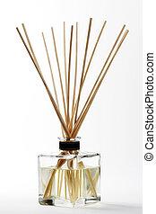 palos, uno, difusor, aroma, bambú, montado